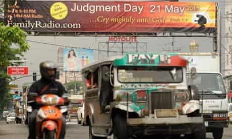 A banner warns of the Rapture on a street in Manila, the Philippines
