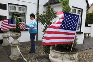 Moneygall: A woman decorates her house