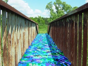 Olek: Crocheted footbridge