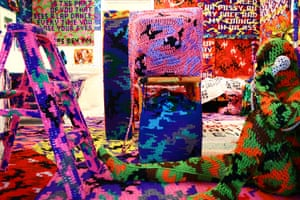 Olek: Detail from Knitting is for Pus****