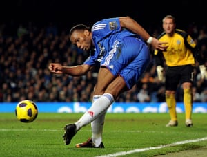 Premier League 2010-11: Chelsea's Didier Drogba controls the ball against Blackburn Rovers