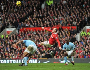 Premier League 2010-11: Manchester United's Wayne Rooney scores their second with an overhead kick