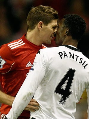 Premier League 2010-11: Tempers flare between Liverpool's Steven Gerrard and Fulham's John Pantsil