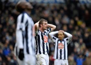 Premier League 2010-11: West Bromwich Albion's Chris Brunt, centre, rues a missed chance