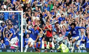 Premier League 2010-11: Mikel Arteta celebrates scoring the equalising goal for Everton