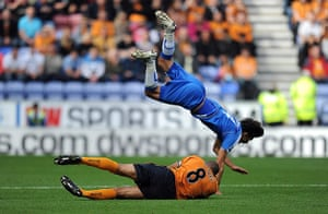Premier League 2010-11: Wigan Athletic's Jordi Gomez is fouled by Wolve's Karl Henry