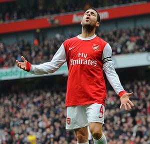 Premier League 2010-11: Dejection from Cesc Fabregas after he missed a good chance against Spurs