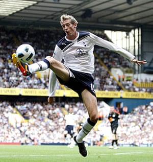 Premier League 2010-11: Tottenham Hotspur's Peter Crouch controls the ball