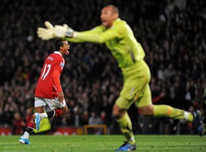 Premier League 2010-11: Man United's Nani celebrates scoring their 2nd goal against Spurs