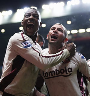 Premier League 2010-11: Phil Bardsley (right) of Sunderland celebrates his goal