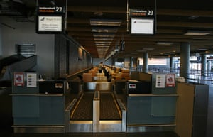iceland volcano: A deserted check-in area  at Keflavik airport