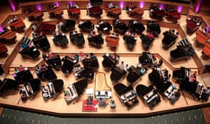 The stage at the Royal Festival Hall is filled with grand pianos for Lang Lang Inspires