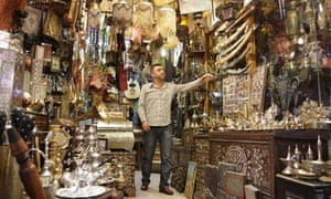 A vendor waits for tourists in Damascus