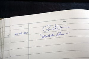 obama visits Ireland: visitors book at Aras an Uachtarain in Dublin