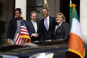 obama visits Ireland: Obama shakes hands with Taoiseach Enda Kenny at Farmleigh House in Dublin