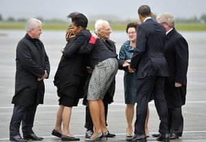 obama visits Ireland: The Obamas are greeted by the US ambassador