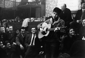 Bob Dylan at 70: Bob Dylan performing at the Singers Club Christmas party in December 1962