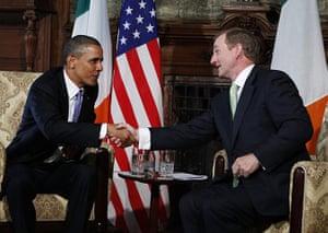 Obama in Ireland: President Barack Obama shakes hands with Irish Prime Minister Enda Kenny