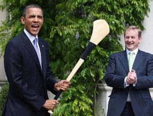 Obama in Ireland: Barack Obama poses for pictures with an Irish hurling stick