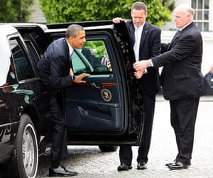 Obama in Ireland: US President Barack Obama steps from his limousine