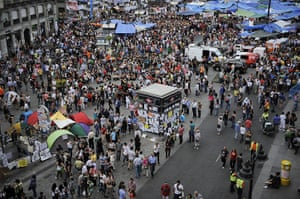 Spain protests continue: People gather at the Sol Square Camp during a continued protest
