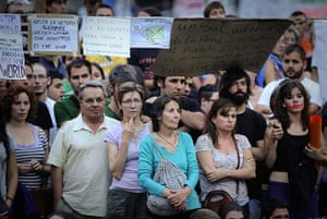 Spain protests continue: Protestors observe the demonstration, Spain