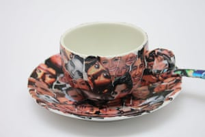 Foundling Museum: A teacup and saucer with celebrity faces