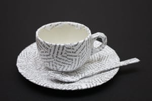 Foundling Museum: A teacup covered with words