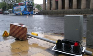 This traffic light in Princes Street continued to work despite being blown over | pic: Michael MacLeod