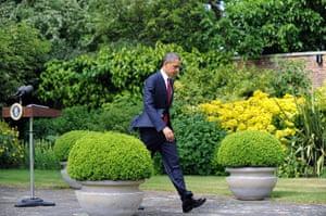 Obama UK visit: Barack Obama leaves after making a statement, London