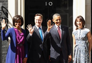 Obama visits UK: Barack and Michelle Obama wave with David and Samantha Cameron