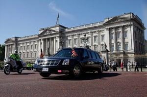 Obama UK visit: The Presidential motorcade leaves Buckingham Palace for Downing Street