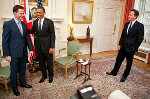 Obama UK visit: Nick Clegg laughs with Barack Obama David Cameron looks on