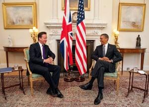 Obama UK visit: Barack Obama meets with David Cameron at the 10 Downing Stree