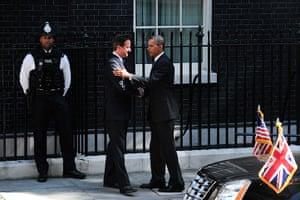 Obama UK visit: David Cameron greets Barack Obama as he arrives at 10 Downing Street