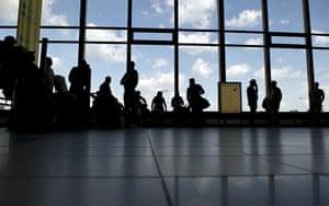 Volcano travel disruption: passengers wait in Berlin