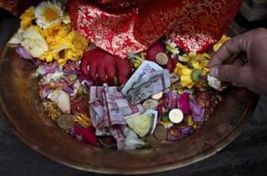 24 hours: Patan City, Nepal: Kumari Samita Bajracharya is worshipped