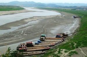 Drought in China: Severe drought at Hanjiang River in Yunxian County Hubei Province