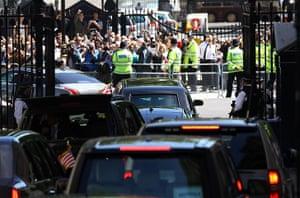 Obama UK visit update: The Presidential motorcade leaves Downing Street