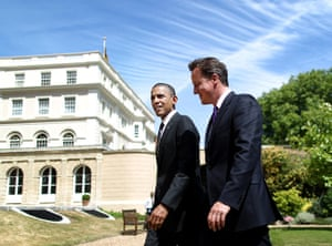Obama UK visit update: David Cameron and Barack Obama walk in the gardens of Lancaster House