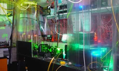 Laser system used for measuring the shape of the electron