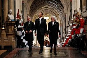 Obama UK visit update: Barack Obama with John Bercow and Helene Hayman