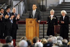 Obama UK visit update: Barack Obama is applauded as he speaks at the British parliament