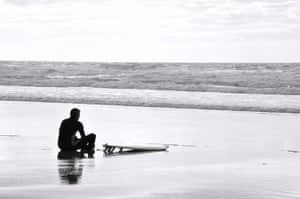In pictures: expectation: Surfer at Watergate Bay