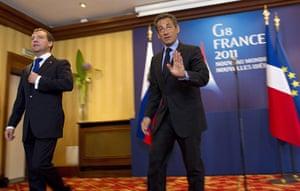 G8 summit: Dmitry Medvedev and France's President Nicolas Sarkozy