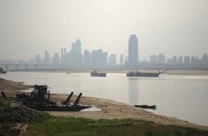 Drought in China: Nanchang section of Ganjiang River, Jiangxi Province