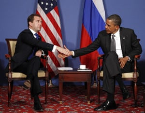 G8 summit: US President Barack Obama meets Russian President Dmitry Medvedev