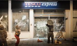 Anti-Tesco demonstrators in Stokes Croft, Bristol.