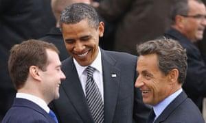Obama, Medvedev, Sarkozy at G8 summit
