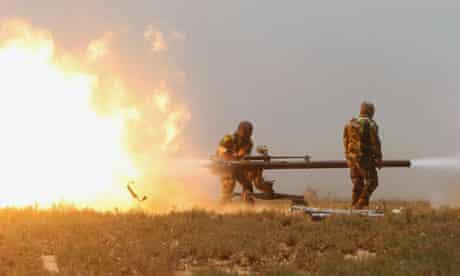 Rebel fighters training in Libya